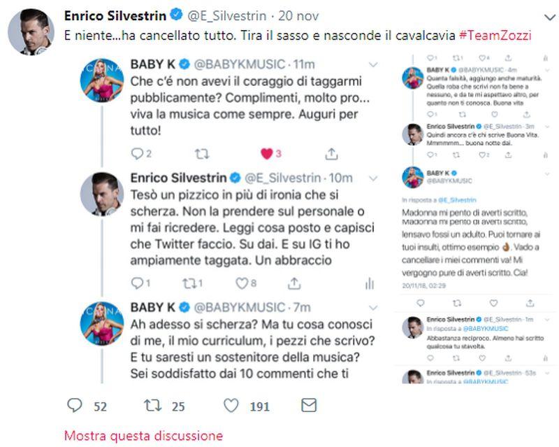 """Enrico Silvestrin: """"Ogni volta che c'è Baby K un compositore muore"""", lite social con la cantane"""