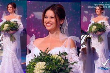 Yuliya Mayarchuk sfila in abito da sposa a Detto Fatto